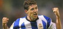 Deportivo Coruna's Victor celebrates his goal against Real Betis